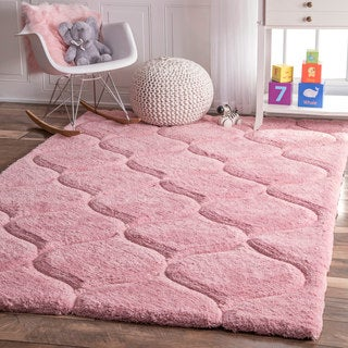 nuLOOM Handmade Trellis Soft and Plush Solid Pink Kids Shag Rug (7'6 x 9'6)