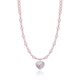 Crystal Dream Luxury Pink Pearls and Crystal with Pink Heart Charm Infant Necklace
