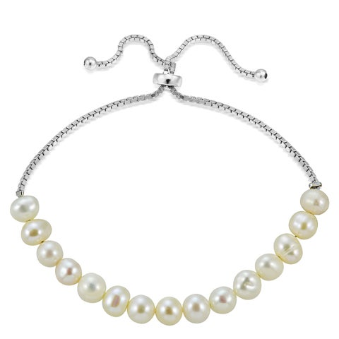 Glitzy Rocks Sterling Silver Freshwater Pearl Adjustable Bracelet (5 mm)
