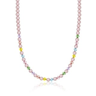 Crystal Dream Luxury Pink Pearls and Multi-colored Crystals Stylish Baby Girl Necklace