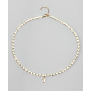 Crystal Dream Luxury Christening Beige Swarovski Pearls and Gold Beads Gold Cross Charm Keepsake Girl Infant Necklace