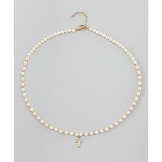 Crystal Dream Luxury Christening Beige Swarovski Element Pearls and Gold Beads Gold Cross Charm Keepsake Gir|https://ak1.ostkcdn.com/images/products/12358188/P19185311.jpg?impolicy=medium