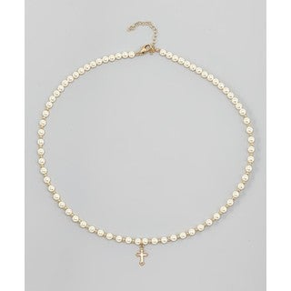 Crystal Dream Luxury Christening Beige Swarovski Element Pearls and Gold Beads Gold Cross Charm Keep