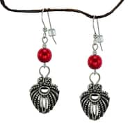 Handmade Jewelry by Dawn Red Pearlized Glass Antique Pewter Puffed Teardrop Earrings (USA)