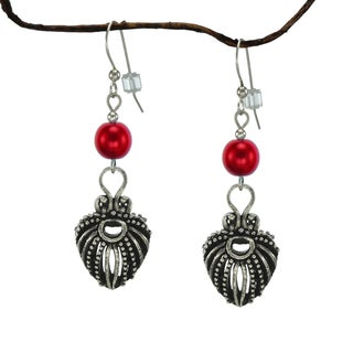 Jewelry by Dawn Red Pearlized Glass Antique Pewter Puffed Teardrop Earrings
