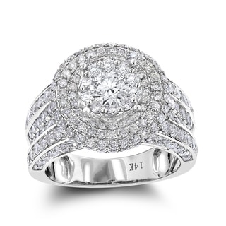 Luxurman Multi Halo Round Diamond Engagement Ring 3.50ct 14K Gold