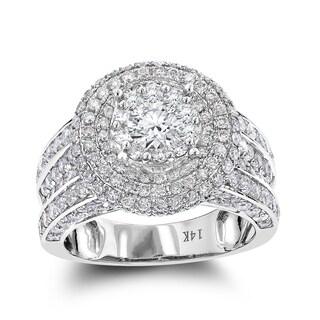 Luxurman Multi Halo Round Diamond Engagement Ring 3.50ct 14K Gold