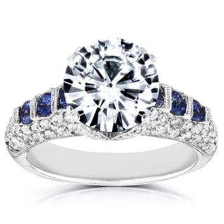 Annello by Kobelli 18k White Gold 1/2ct Sapphire and 2 3/5ct TDW Diamond Milgrain Engagement Ring