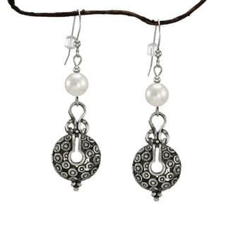 Jewelry by Dawn White Crystal Pearl Vintage Style Pewter Earrings