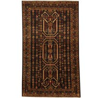 Herat Oriental Afghan Hand-knotted 1960s Semi-antique Tribal Balouchi Wool Rug (3'9 x 6'9) - 3'9 x 6'9