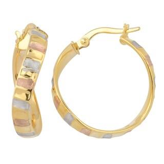Fremada Italian 14k Tricolor Gold 4x20-mm Twist Hoop Earrings