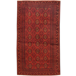 Herat Oriental Afghan Hand-knotted 1960s Semi-antique Tribal Balouchi Wool Rug (3'7 x 6'3)