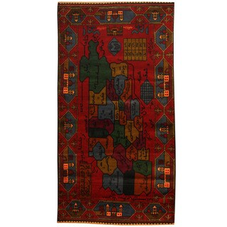 Herat Oriental Afghan Hand-knotted 1960s Semi-antique Tribal Balouchi Wool Rug (3'8 x 7') - 3'8 x 7'