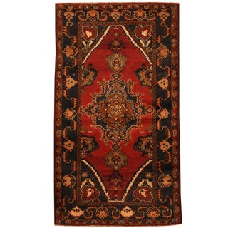 Herat Oriental Afghan Hand-knotted 1960s Semi-antique Tribal Balouchi Wool Rug (3'9 x 6'8)