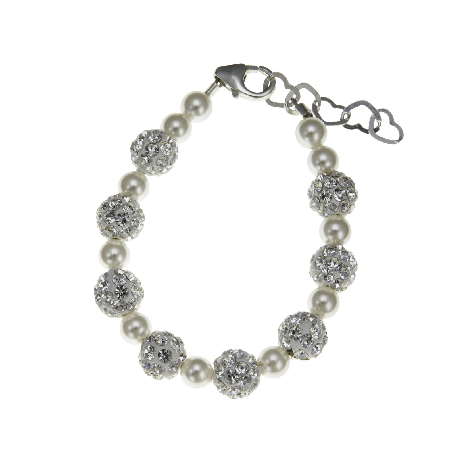 928ce6313 Made with Swarovski Elements White Simulated Cultured Pearls with Beads  Child Bracelet