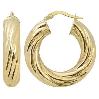 Fremada Italian 14k Yellow Gold 6x15-mm High Polish Bold Twist Hoop Earrings