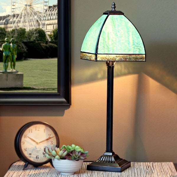 25 Inch High Stained Gl Bent Panel Table Lamp