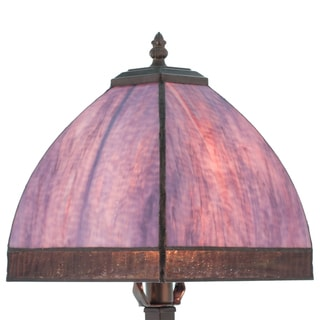 Lavender/Pink 25-inch High Stained Glass Bent Panel Table Lamp