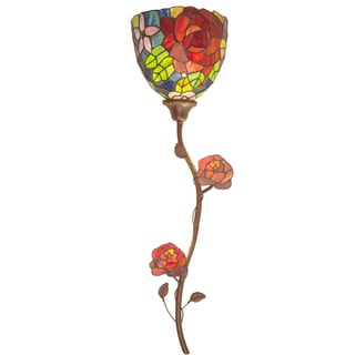 River of Goods Tiffany-style Rose Garden Stained-glass 35-inch High Cordless LED Wallchiere with Remote Control and Adapter