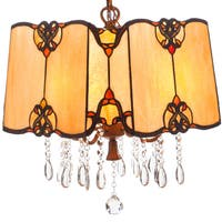 Tiffany Style Stained Glass and Crystals 19-inch High Hanging Pendant Lamp
