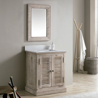 Rustic 31-inch Quartz Marble Top Single-sink Bathroom Vanity with Rectangle Mirror