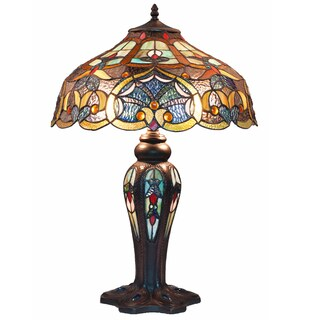 River of Goods Tiffany-style Ocean Stained Glass Webbed Hearts 25-inch High Double-lit Table Lamp