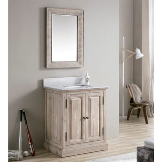 Driftwood 31-inch Quartz Marble Top Single-sink Bathroom Vanity with Rectangle Mirror