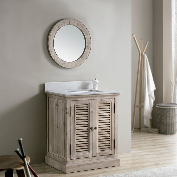 Shop Rustic 31 Inch Quartz Marble Top Single Sink Bathroom Vanity With Round Mirror Free