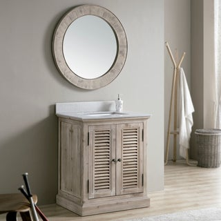 Rustic 31-inch Quartz Marble Top Single-sink Bathroom Vanity with Matching Wall Mirror