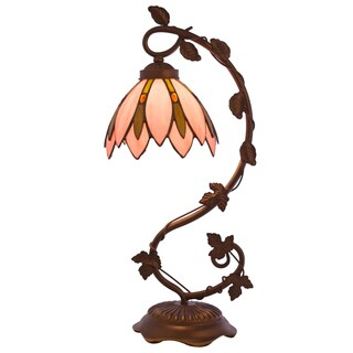 River of Goods Tiffany-style Blue Stained-glass Lotus Flower Table Lamp