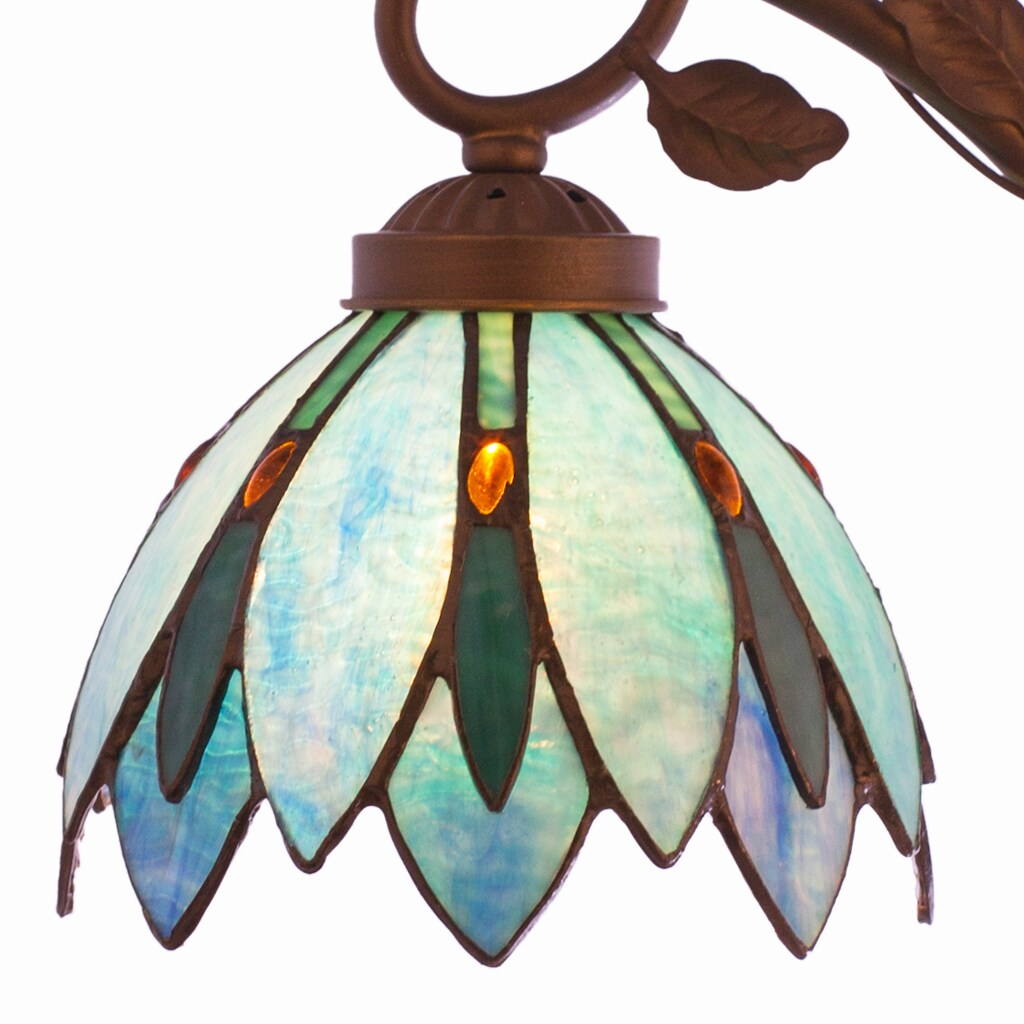 Shop River Of Goods Tiffany Style Blue Stained Glass Lotus Flower