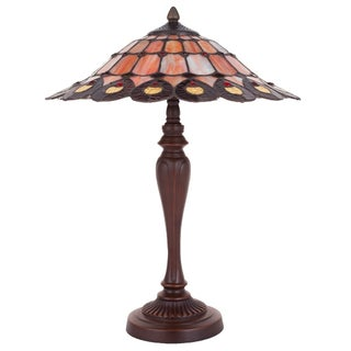 Amber 21.75-inch Hight Tiffany Style Stained Glass Geometrical Table Lamp