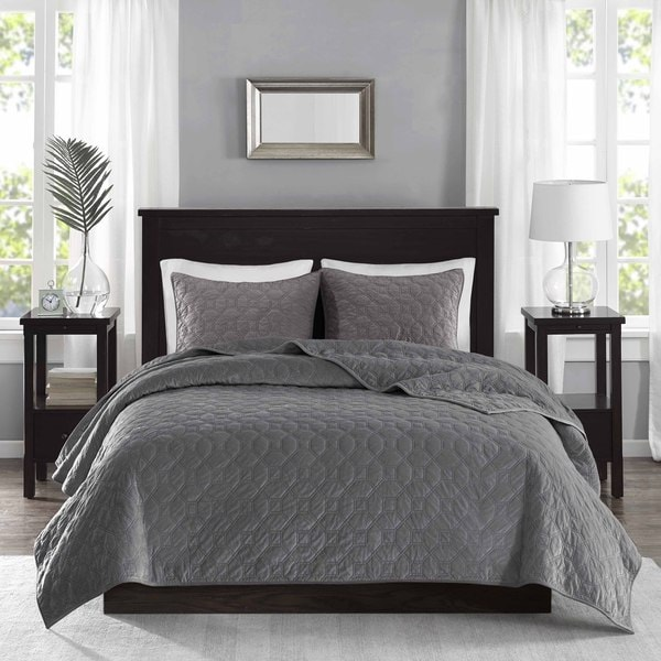 Gray Velvet Coverlet : Madison park emery grey velvet piece coverlet set free