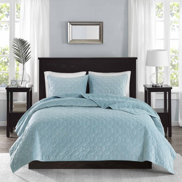 Madison Park Emery Light Blue Velvet 3 Piece Coverlet Set