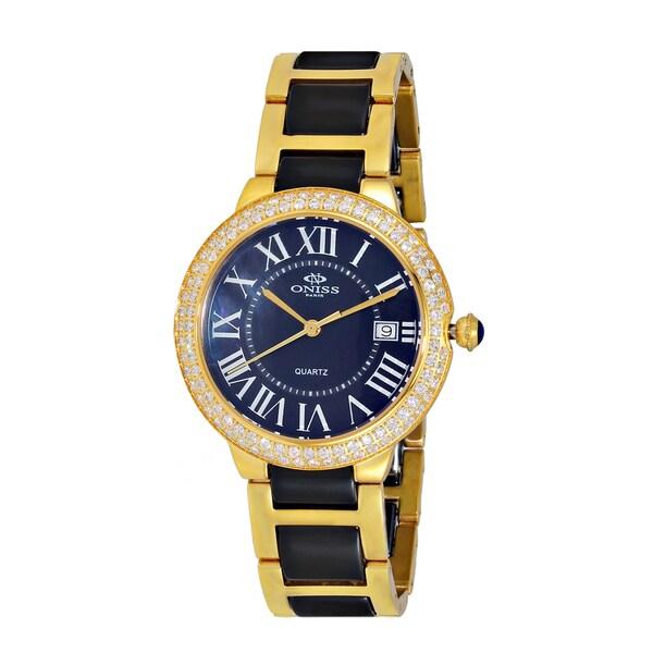 Oniss Women's ON3331 Swiss Stainless Steel & Ceramic Stone Goldtone & Black Timepiece