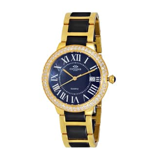 Oniss Women's ON3331 Swiss Stainless Steel & Ceramic Stone Goldtone & Black Timepiece|https://ak1.ostkcdn.com/images/products/12358316/P19185433.jpg?impolicy=medium