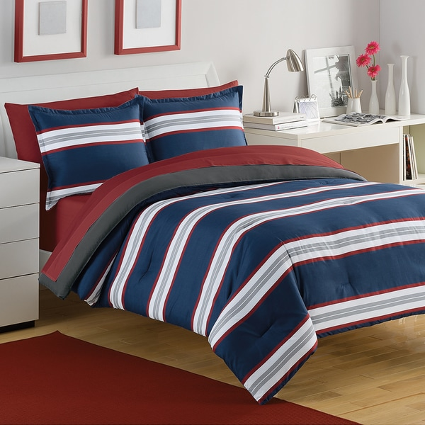 IZOD Rugby Stripe Navy/Red 3-piece Comforter Set
