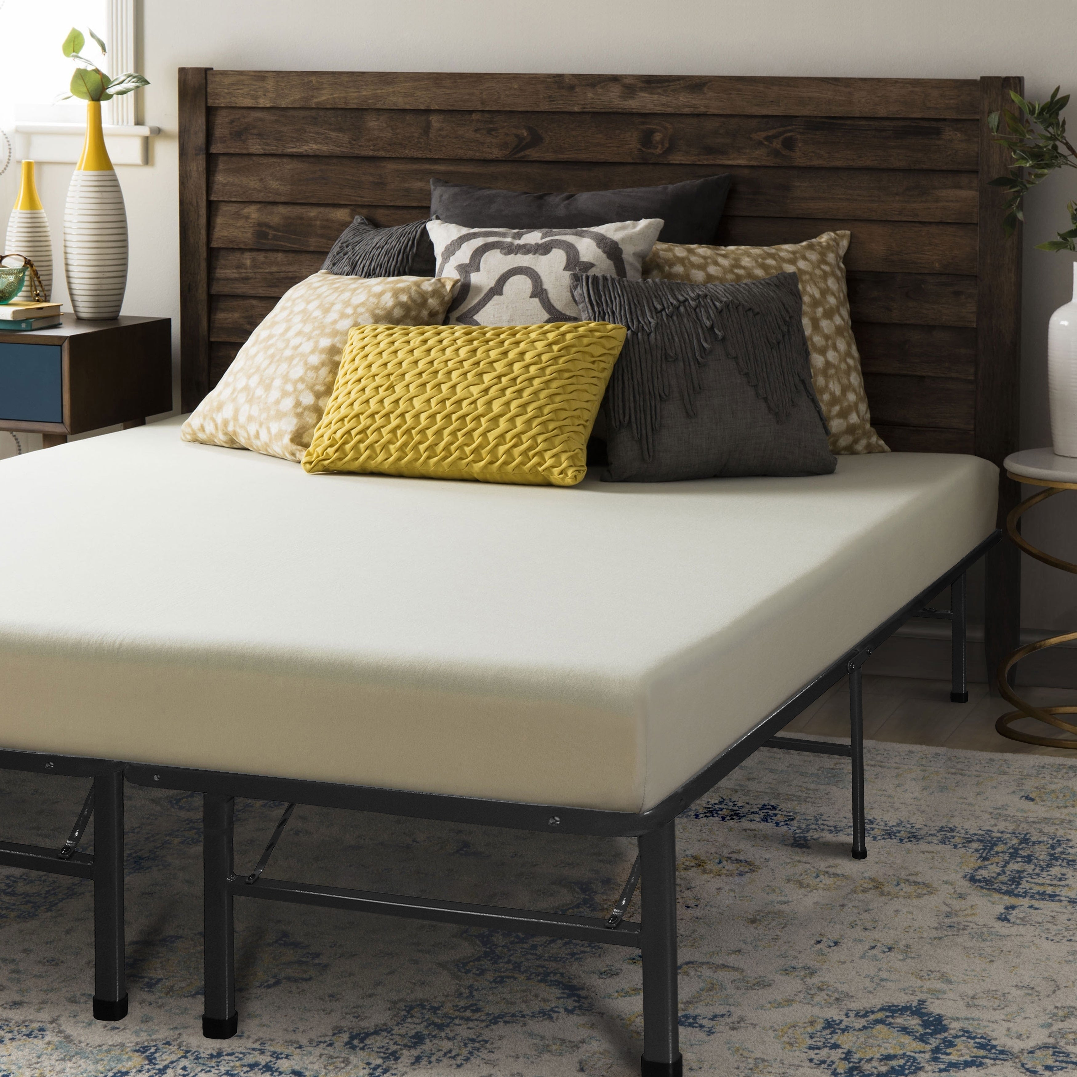 Crown Comfort 6-inch Queen-size Bed Frame and Memory Foam...