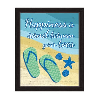 Sand Between Your Toes Green Framed Canvas Wall Art