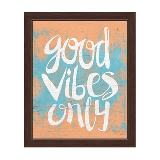 Good Vibes Only Orange Framed Canvas Wall Art