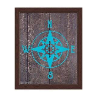 Compass - Blue Framed Canvas Wall Art
