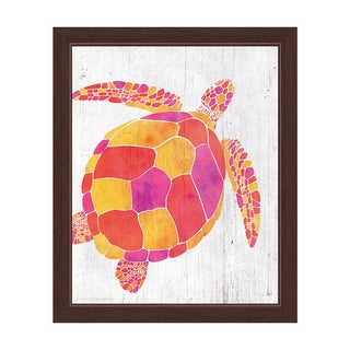 Watercolor Turtle Orange Red And Purple Framed Canvas Wall Art