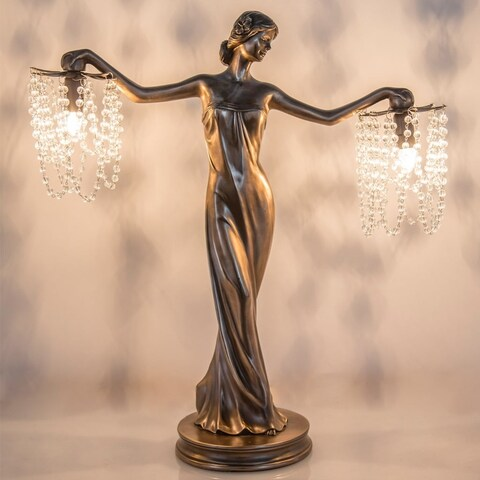 River of Goods Bronze/Resin 23.75-inch Grecian Goddess Beaded Table Lamp