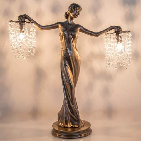 "Gracewood Hollow Sansal Bronze/Resin 23.75-inch Grecian Goddess Beaded Table Lamp - 22""L x 7.625""W x 23.75""H"