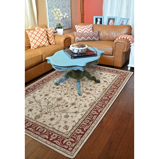 Julia Ivory/Red Wool Hand-tufted Area Rug (3'6 x 5'6)