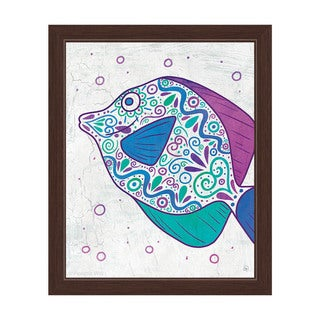 Watercolor Tang Teal Purple And Blue Framed Canvas Wall Art