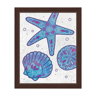 Watercolor Shells Blue Purple And Teal Framed Canvas Wall Art