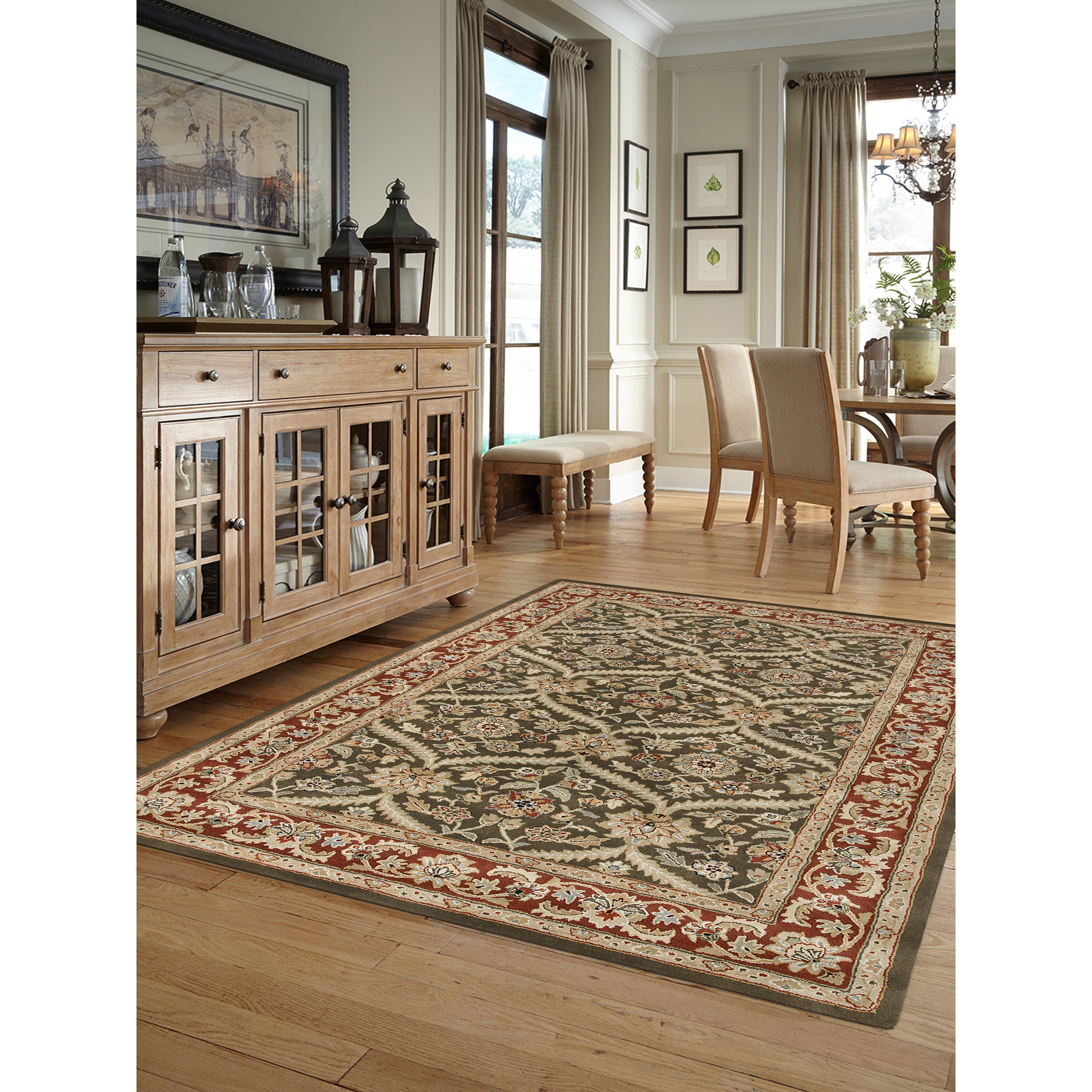 Julia Brown/Red Wool Hand-tufted Area Rug (3'6 x 5'6) (3....