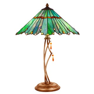 River of Goods Blue/Green Metal/Resin/Art Glass Stained Glass 24.75-inch High Tiffany-style Whimsical Table Lamp