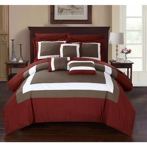 Chic Home Darren Brick Bed in a Bag Comforter 10-Piece Set